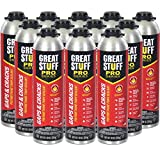 GREAT STUFF PRO Gaps and Cracks - 30oz Fireblock Foam Insulation Sealant, Pack of 12. Closed Cell, Polyurethane Expanding Spray Foam. Seals & Insulates Gaps Up to 3'. Applicator Gun Not Included