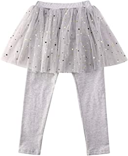 Toddler Little Baby Girls Footless Leggings with Lace Ruffle Tutu Skirt Pants 1-6T