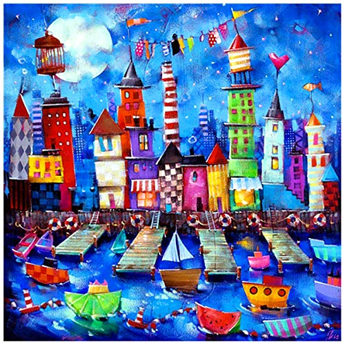 Huacan 5D DIY Diamond Painting Kits for Adults Landscape Picture House River Town Scene Full Square Drill Crystal Rhinestone Embroidered Cross Arts Craft Supply Home Wall Decor Gift 30x30cm/12x12in