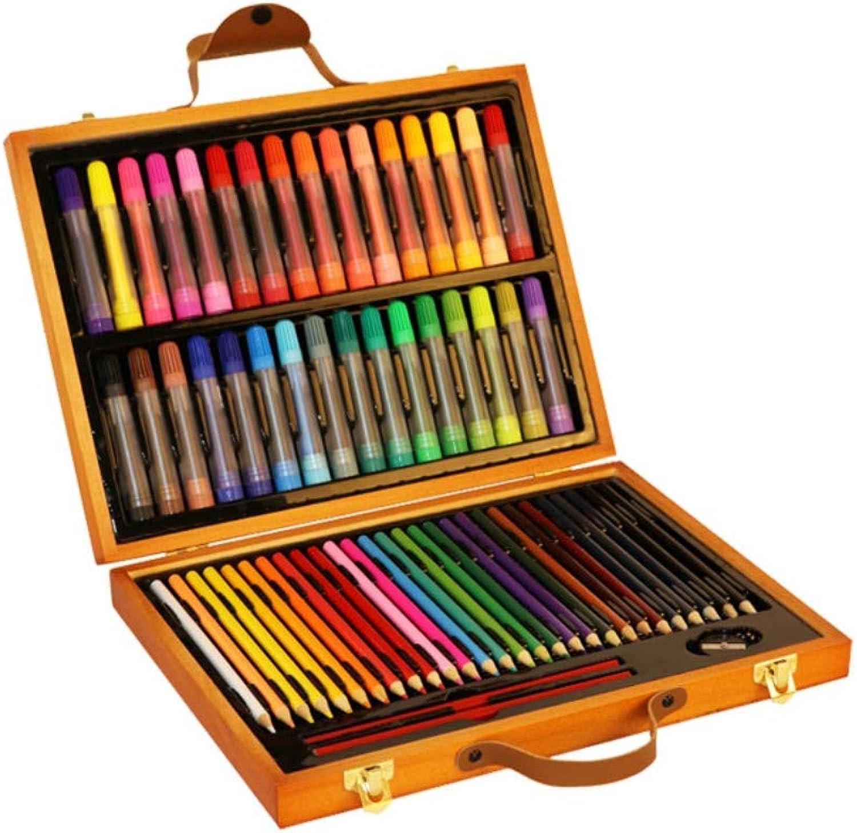 Art JKWL Set da Pittura per Bambini, Confezione da 63 Pezzi con Scatola Regalo in Legno, miglior Regalo per Bambini