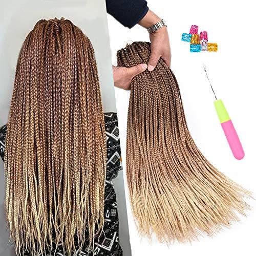 AliRobam 24Inch Box Braids Crochet Braids Braiding Hair Extensions 22Strands 6 Packs Ombre Synthetic Hair Honey Blonde 3S Box Crochet Braid Hair (3S box braids, DarkBrown-LightBrown-HoneyBlonde)