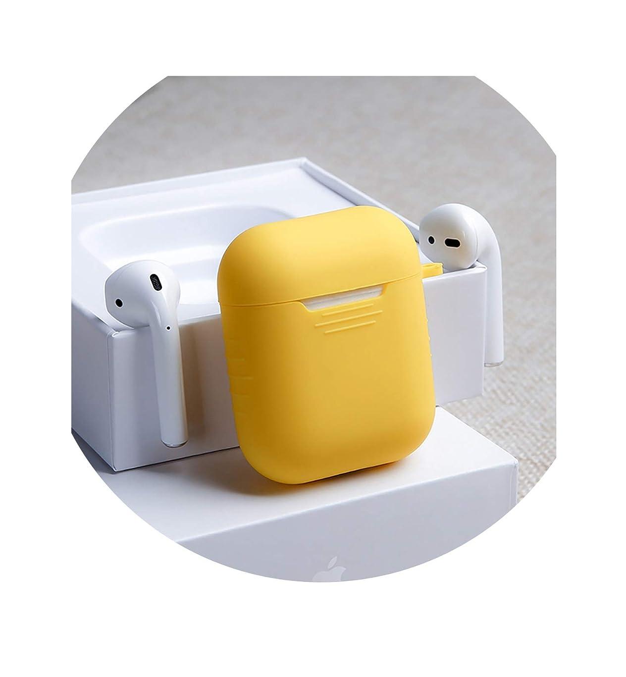 礼儀卑しい本土airpods ケース airpods 1 2 ケース airpods用 イヤホンケース AirPods保護カバースキンアクセサリー用1PCS BluetoothワイヤレスイヤホンケースAirPods充電ボックス用シリコンケース、黄色