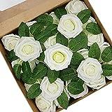 Vanleonet Artificial Flowers Ivory White Rose...