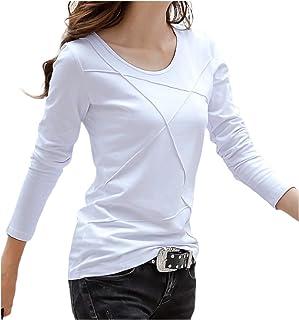 [エムエルーセ] 半袖 or 長袖 Tシャツ 夏物 丸首 スキニー カットソー 7分袖 ワンポイント 柄 春夏 夏 もの 4カラー M - 3XL レディース