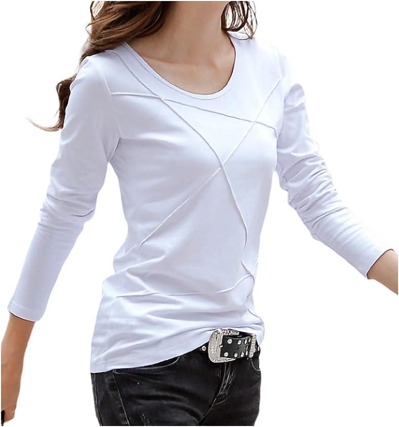 負荷代名詞引き付ける[エムエルーセ] 半袖 or 長袖 Tシャツ 夏物 丸首 スキニー カットソー 7分袖 ワンポイント 柄 春夏 夏 もの 4カラー M - 3XL レディース