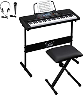 $89 » GLARRY 61-Key Portable Electronic Keyboard Piano set w/LCD Screen, Stand, Microphone, Headphones, Stand, Bench, Teaching M...