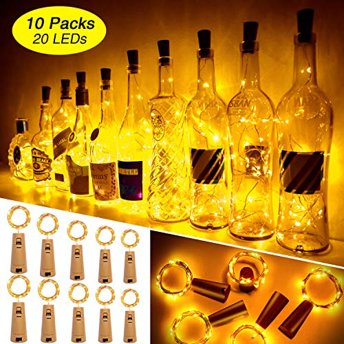 Ariceleo 20 LED 10 Packs Wine Bottle Lights Copper Wire Fairy String Light Warm White Bottle Stopper Atmosphere Lamp for Christmas Xmas Holiday Festival DIY Home Party Decoration Present Gift