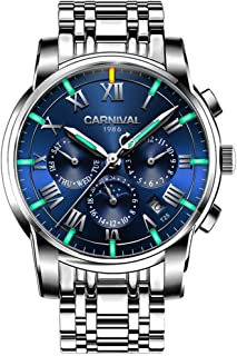 Men's Complications Automatic Mechanical Watch Military Tritium Super Bright Blue or Green Luminous