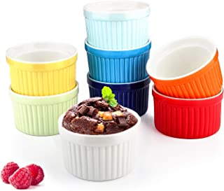 4 Oz Ramekin Bowls,WERTIOO 8 PCS Bakeware Set for Baking and Cooking, Oven Safe Sleek Porcelain Colorful Ramikins for Pudding, Creme Brulee, Custard Cups and Souffle Small instant table tray