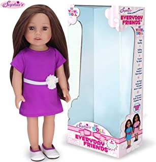 Sophia's Brunette Doll 18 Inch Vinyl Girl Fashion Doll with Purple Dress and Silver Shoes, Perfect Friend for American Dolls!
