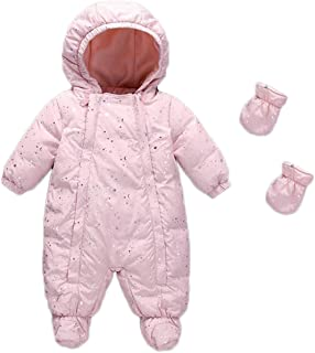 9f2287f1c JELEUON Baby Girls and Boys One Piece Winter Warm Hooded Zipper Puffer Down  Jacket with Gloves