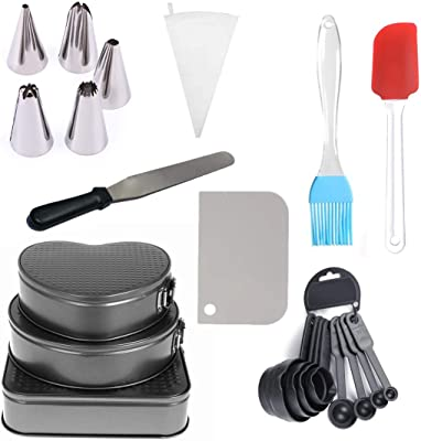 Vital Creations Combo of Set of 3 Teflon Coated Removable Cake Moulds, Set of 8 Measuring Cups and Spoons, Spatula, Brush, Scraper, Pallet Knife and 1 Icing Piping Bag with 5 Steel Nozzles