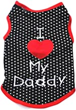 Pet Costume Pet Clothes Puppy Clothes Wholesale Stickers Embroidered Love Mom Love Daddy Couple Costume Pet Clothes cxjff (Color : Black)