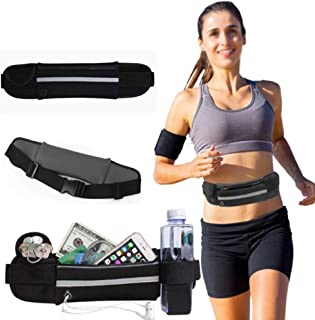 Mofun® Running Belt, Lightweight Running Pouch Elastic Waist Packs Breathable Cycling Bum Bag With Headphone Hole Sweatproof for Dog Walking Great for Carrying Keys Cards Phone(Black)