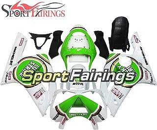 Sportfairings ABS Plastics Injection Motorcycle Fairing Kits For ZX6R 636 Year 2003 2004 White Green Fairings Bodywork