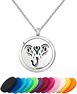JewelryJo Aromatherapy Essential Oil Diffuser Necklace Animals Serials Locket Pendant with Refill Pads