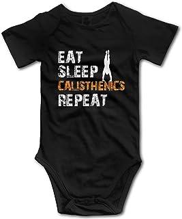 Promini Eat Sleep Calisthenics Repeat Baby Strampler aus Baumwolle, kurzärmelig, 0-3 Monate, ZI3064