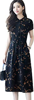(アイノウ)AINOR シフォン ワンピース レディース 花柄 上品 リゾート 夏 半袖 オープンショルダー ドレス 日常着 通勤 (S~3XL)