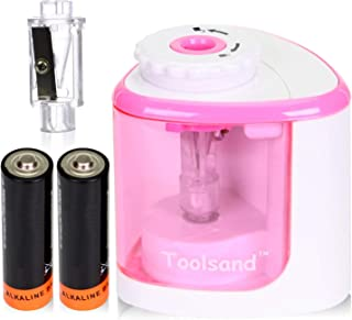 Electric Pencil Sharpener, Battery-Powered, Batteries Included, High-Speed Automatic, best for Colored and No. 2 Wood Graphite Pencils, for Home Office School Classroom Adults Kids (White/Pink)