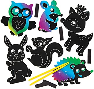 Baker Ross Ltd Woodland Animal Scratch Art Magnets (Pack of 10) for Kids Arts and Crafts