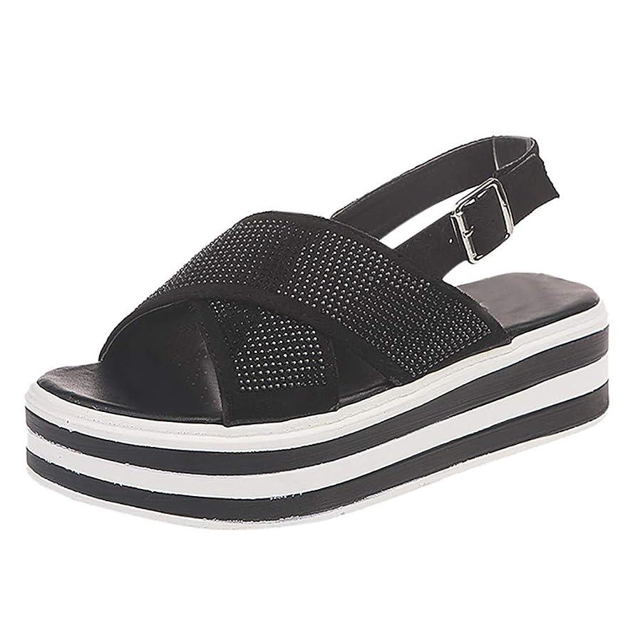 スクラッチローストヘルシー幸運な太陽 レディースシューズ プラットフォーム 厚底 マフィンボトムシューズ 歩きやすい 滑りにくい ナースサンダル 5cmヒール 婦人靴