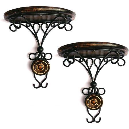 Aafiya Handicrafts Wooden & Wrought Iron Fancy Wall Bracket/Wall Shelf