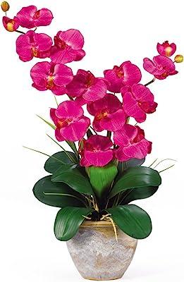 Nearly Natural 1026-BU Double Phalaenopsis Silk Orchid Flower Arrangement, Beauty,15.5x12x25