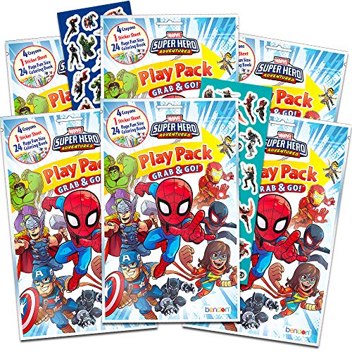Marvel Super Hero Adventures Party Favors Pack ~ Bundle of 6 Superhero Adventures Play Packs with Stickers, Coloring Books, and Crayons with Bonus Stickers (Super Hero Adventures Party Supplies)