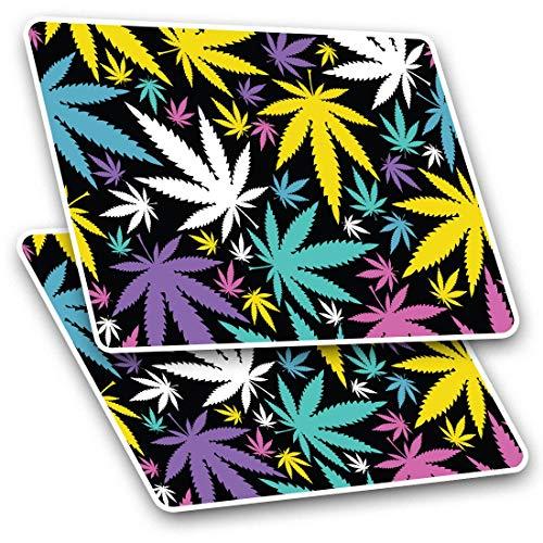 Pegatinas rectangulares (juego de 2) 7,5 cm – varios colores hoja de marihuana para ordenador portátil, tableta, equipaje, álbum de recortes #16545