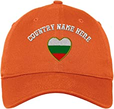 Custom Low Profile Soft Hat Heart Bulgaria Flag Embroidery Country Name Cotton