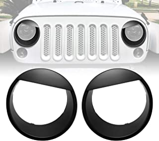 ICARS Black Angry Bird Front Headlight Trim Cover Bezels Pair Jeep Wrangler Rubicon Sahara Sport JK JKU Unlimited Accessories 2 Door 4 Door 2007-2018