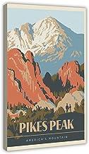Pikes Peak Retro Reizen Art Billboard Canvas Poster Muur Art Decor Print Foto Schilderijen voor Woonkamer Slaapkamer Decor...