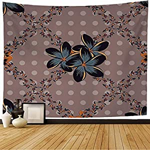 Wall Tapestry Colorful Silk Scarf Plumeria Flowers Pink Gray Nature Abstraction Arabian Colored Cosmos Damask Tapestry Wall Hanging Bedding Tapestry for Bedroom 60×60 Inch