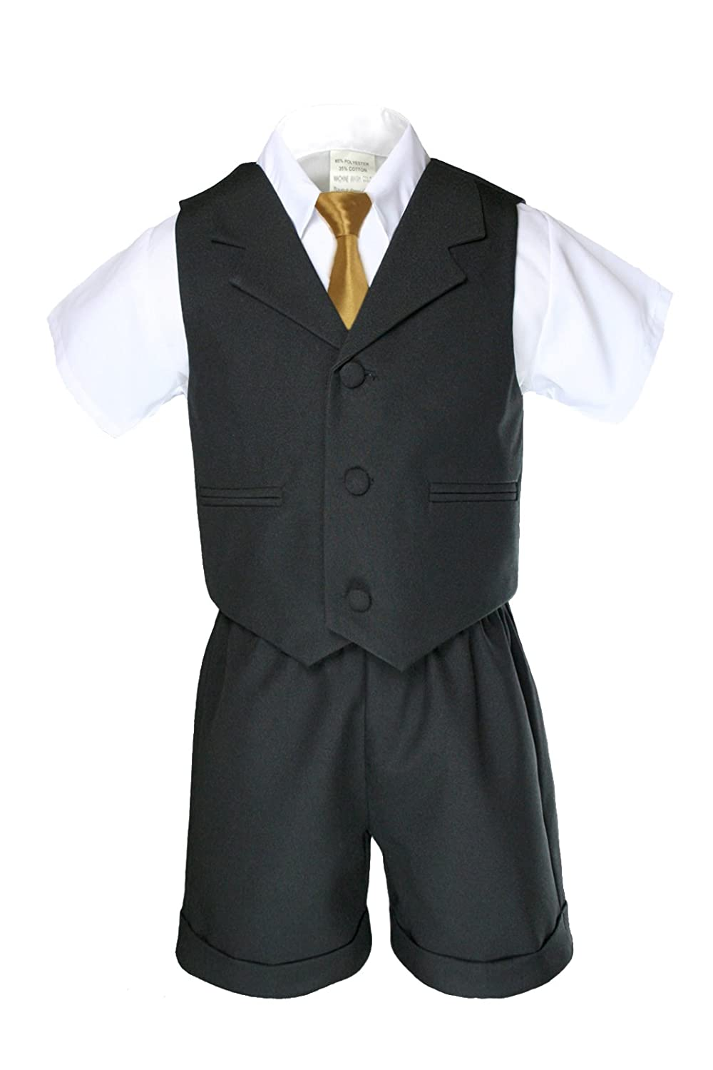 Boys Black Shorts Vest Sets Suits Outfits Extra Gold Necktie Baby Toddler (S:(0-6 months))