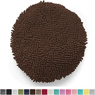 Gorilla Grip Original Shag Chenille Bath Rug Toilet Lid Cover, 19.5 Inchx18.5 Inch Large Size, Machine Washable, Ultra Soft Plush Fabric Covers, Fits Most Size Toilet Lids for Bathroom, Brown