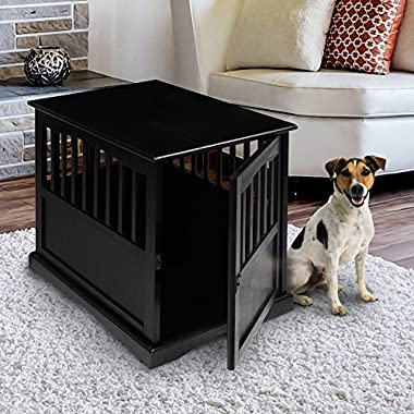 Casual Home 600-42 Wooden Pet Crate, Black, 24  H