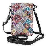Lsjuee Colorido Vintage patrón étnico bolso cruzado para teléfono pequeño Mini bolso de hombro bolso para teléfono celular billetera de cuero para mujeres y niñas