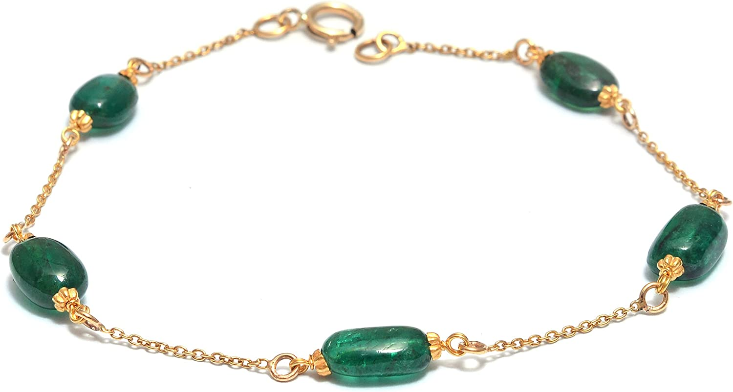Certified Solid 14K Yellow Gold Genuine Birthstone Link Bracelet women with 10 cts Sapphire or Ruby or Emerald 5 stone Adjustable Link Chain Bracelet for Women's Gift