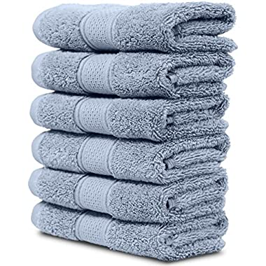 Maura 6 Piece Washclothes Set. Extra Large 13 x13  Premium Turkish Towels. Thick, Soft, Plush and Highly Absorbent Luxury Hotel & Spa Quality Towels - Serenity Blue