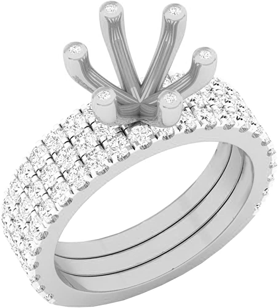 Dazzlingrock Collection 0.90 Carat (ctw) 14K Gold Round Diamond Semi Mount Bridal With Double Band Set