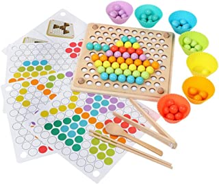 Volwco Kid Hands Brain Training Toys Math Game, 2019 Newest Montessori Educational Toy, Fun Clip Beads Puzzle Board Toys f...