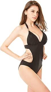 One Piece Bikini Back Monokini Swimsuits for Women V Neck Halter Bikini Back Mailot Cut Out Tummy Control