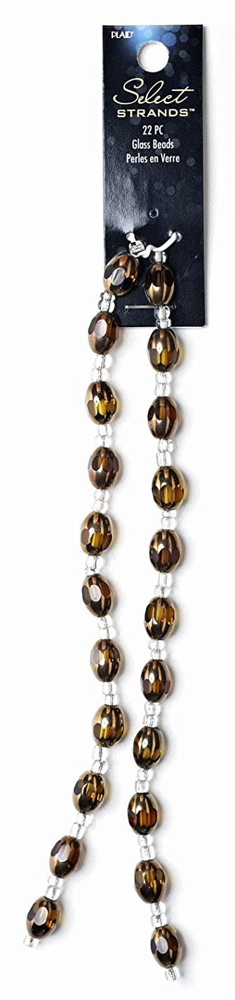 Plaid Select Strands Classic Jewelry Oval Cathedral Glass Beads, 14337 Topaz (Set of 22)