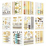 Metallic Temporary Tattoos - 12 Sheets Waterproof Gold Sliver Glitter Body Face Tattoo for Women Teen Girls, Over 200 Flash Fake Festival Jewelry Bling Body Art Tat Stickers