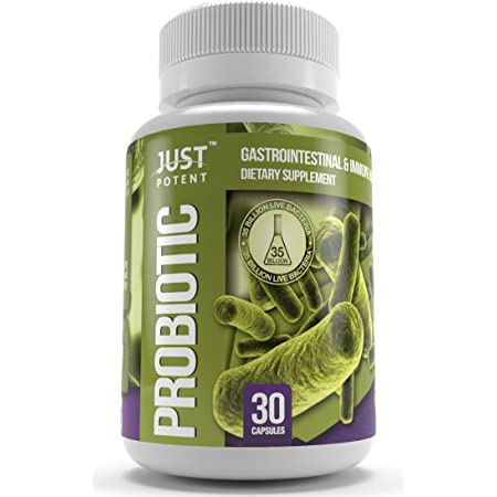 Just Potent Probiotic Supplement :: 35 Billion CFUs Per Capsule :: 8 Powerful and Essential Strains :: Guaranteed Potency Through Expiration