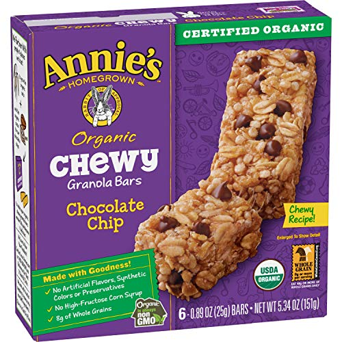 Annie's Organic Chewy Granola Bars, Chocolate Chip, 6 Bars, 0.89oz Each