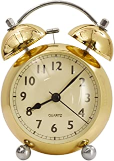 "DECOHOME 4.5"" Twin Bell Gold Premium Analog Table Alarm Clock with Night Light, Table Decorative Centre Piece-Ideal Gift for, Wedding, Party, Home Décor, Living Room, Office, Gifting and Table Center"