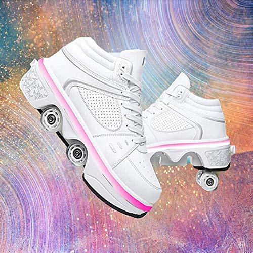 woyaochudan Zapatos para Caminar automáticos Zapatos de polea Invisible Patines Zapatos con Ruedas Hombre y Mujer Zapatos de Patinaje con Ruedas de deformación de Doble Fila para niños Adultos, EUR40