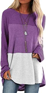 OTW Women's Long-Sleeve Fashion Blouse Color Block Pullover Loose Tee Shirts Top