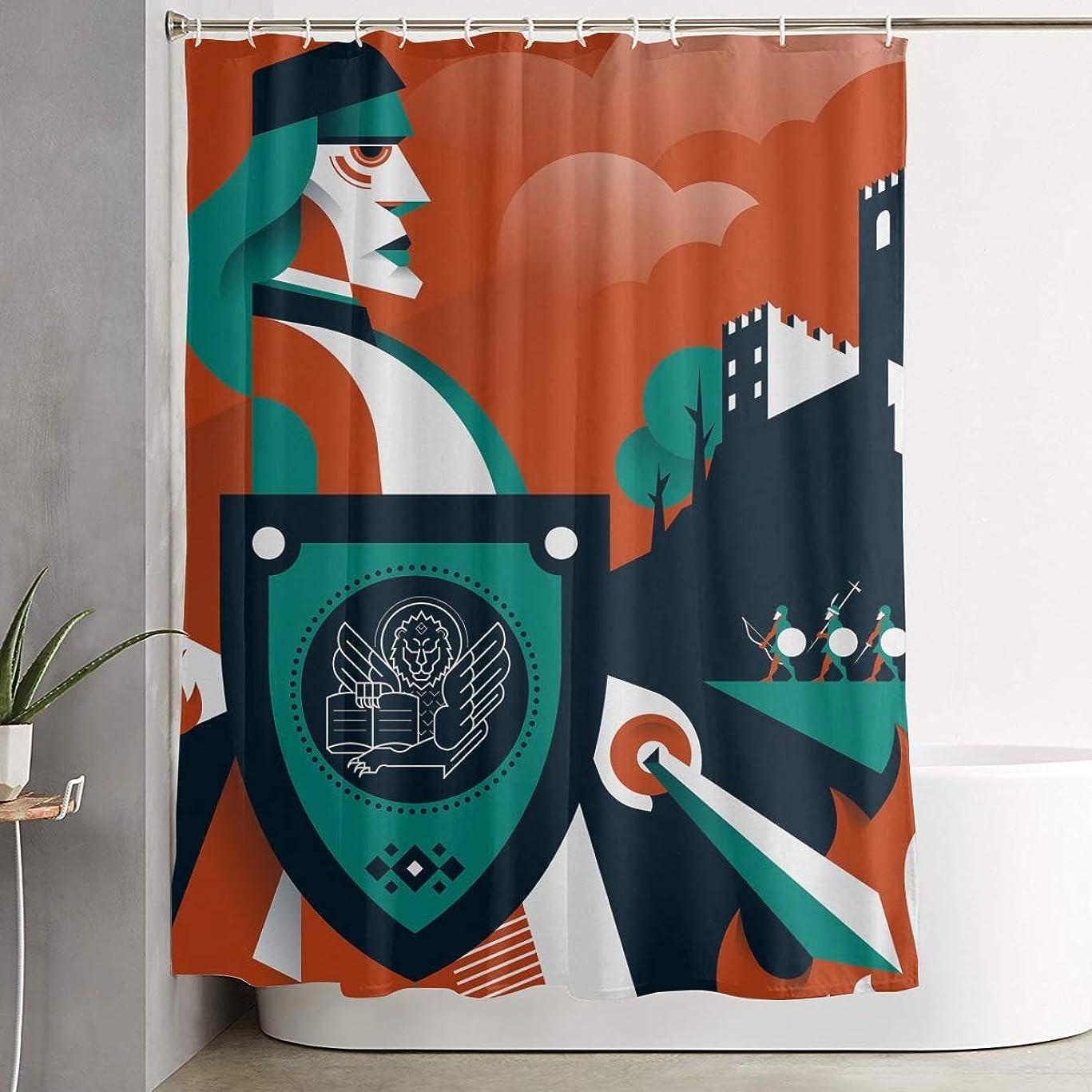 くるみ椅子好ましい兵隊 盾 剣 シャワーカーテン 浴室カーテン バスカーテン お風呂カーテン リング付属 目隠し バスルーム シャワー 速乾性 撥水加工 リングランナー付き